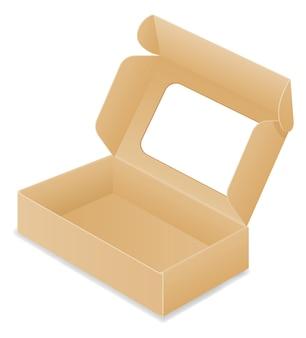 Ilustração da caixa de embalagem de papelão marrom isolada no fundo branco