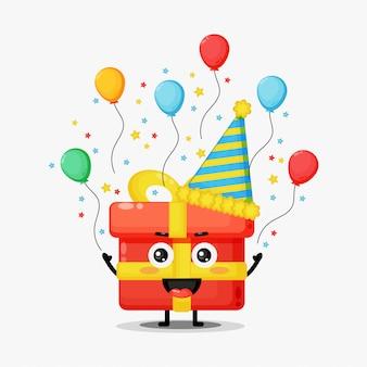 Ilustração da caixa de presente de mascote de aniversário fofo