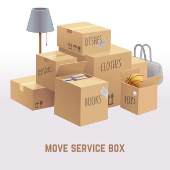 Ilustração da caixa de serviço de movimentação