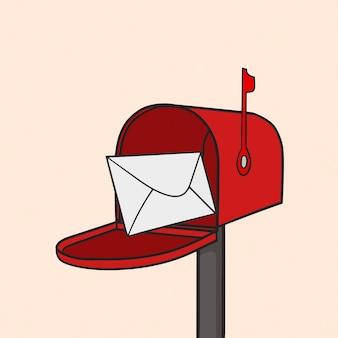 Ilustração da caixa postal vermelha
