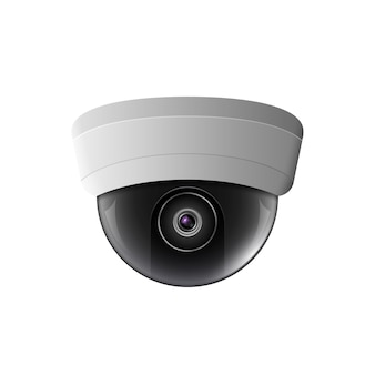 Ilustração da câmera de segurança. equipamento de controle de segurança. tecnologia de proteção de câmera de teto. cctv ver o vídeo.