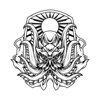 Ilustração da camisa do polvo line art