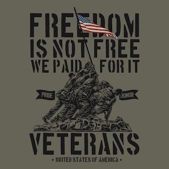 Ilustração da camisa do veterano do exército