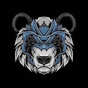 Ilustração da camiseta da cabeça do panda Vetor Premium