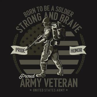Ilustração da camiseta do veterano do exército em design plano