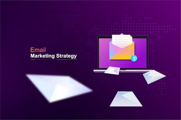 Ilustração da campanha de gerenciamento de email. enviando e recebendo conceito de publicidade por email