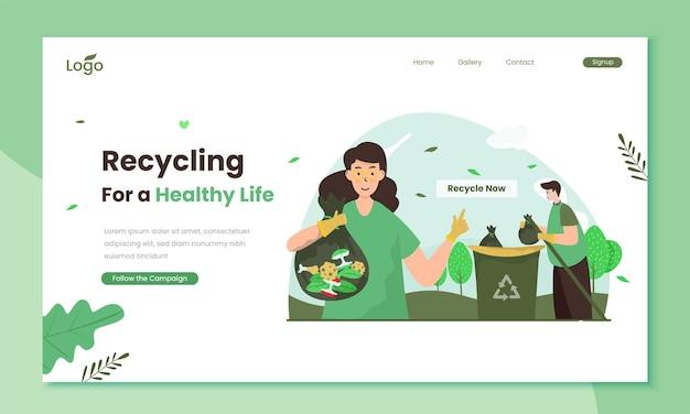 Ilustração da campanha de reciclagem por uma vida saudável no modelo da página de destino