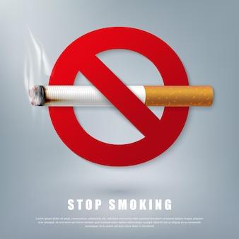 Ilustração da campanha para parar de fumar cigarro para a saúde cigarro e placa vermelha proibida