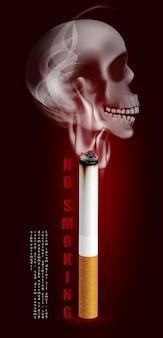 Ilustração da campanha para parar de fumar cigarro para a saúde e um crânio humano assustador