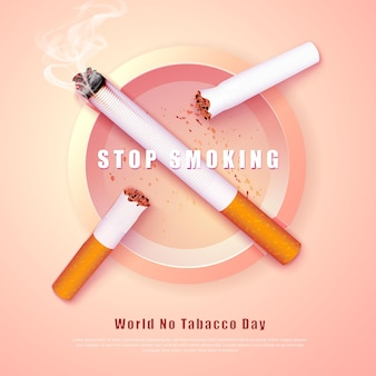 Ilustração da campanha para parar de fumar cigarros quebrados e cinzeiro sem cigarro pela saúde