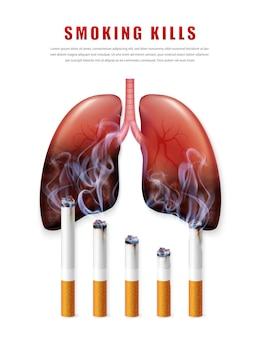 Ilustração da campanha para parar de fumar cigarros sem cigarro pelos saudáveis e pulmões meio podres realistas
