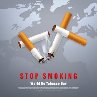 Ilustração da campanha para parar de fumar, nenhum cigarro para a saúde, cigarros partidos e cinzas com fundo de mapa mundial