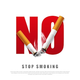Ilustração da campanha para parar de fumar, nenhum cigarro pela saúde, cigarros quebrados e cinzas
