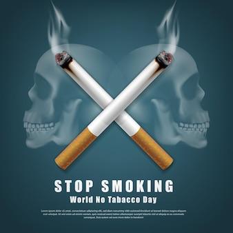 Ilustração da campanha para parar de fumar, nenhum cigarro pela saúde, dois cigarros cruzados e um fundo de crânio humano assustador