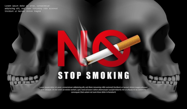Ilustração da campanha para parar de fumar nenhum cigarro pela saúde dois cigarros e um crânio humano assustador em fundo preto