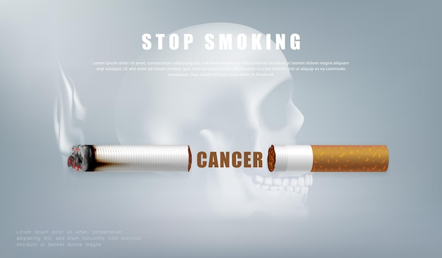 Ilustração da campanha para parar de fumar sem cigarro para a saúde cigarro cortado e fundo de crânio humano assustador