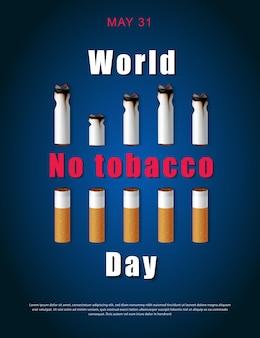 Ilustração da campanha para parar de fumar sem cigarro pela saúde cigarros cortados e dia mundial sem tabagismo