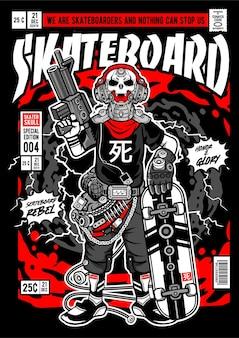 Ilustração da capa em quadrinhos do crânio do patinador