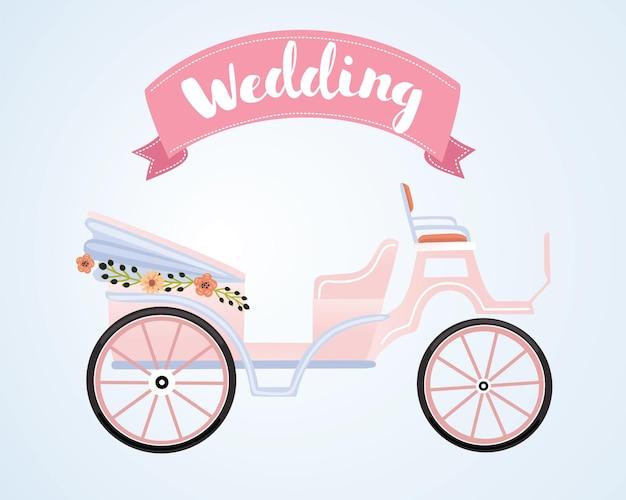Ilustração da carruagem rosa do casamento decorada com flores