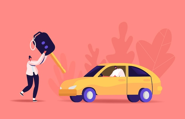 Ilustração da carteira de motorista. mulher pequena carregando uma chave enorme, homem sentado no automóvel