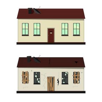 Ilustração da casa antes e depois do reparo