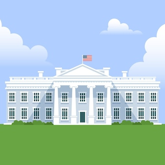 Ilustração da casa branca em design plano