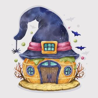 Ilustração da casa de halloween em aquarela