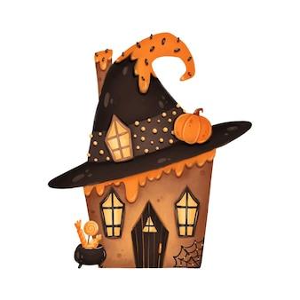 Ilustração da casa de pão-de-espécie de halloween dos desenhos animados bonitos. casa assombrada. casa das bruxas.