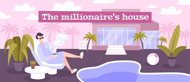 Ilustração da casa do milionário