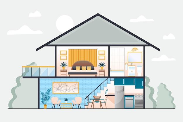 Ilustração da casa em corte transversal