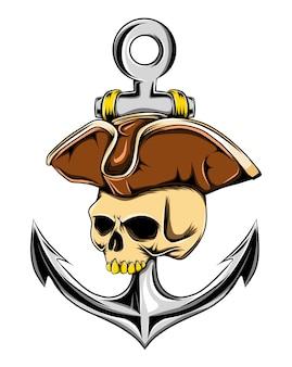 Ilustração da caveira do pirata na cartola com a grande âncora