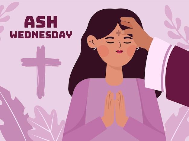 Ilustração da celebração da quarta-feira de cinzas