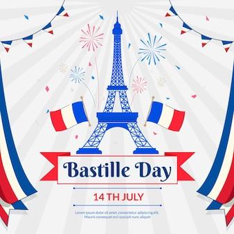 Ilustração da celebração do dia da bastilha