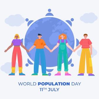 Ilustração da celebração do dia da população mundial