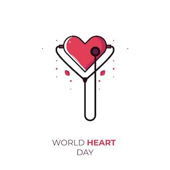Ilustração da celebração do dia mundial do coração com estetoscópio e objeto de amor