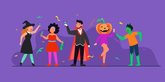 Ilustração da celebração do feliz dia das bruxas (doce ou travessura) com personagens