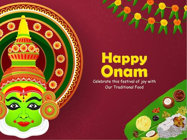 Ilustração da celebração do festival indiano onam.