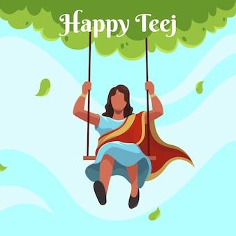 Ilustração da celebração do festival teej