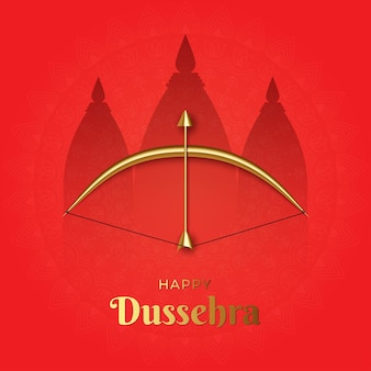 Ilustração da celebração elegante e feliz dussehra com arco e flecha