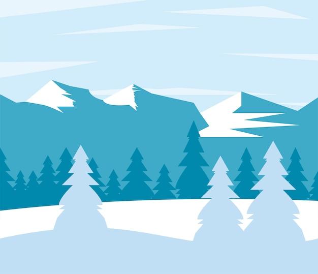 Ilustração da cena da beleza das montanhas azuis do inverno