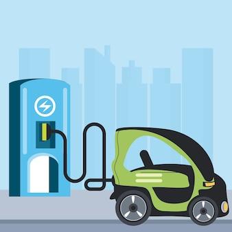 Ilustração da cena da cidade da estação de carregamento compacta do carro elétrico
