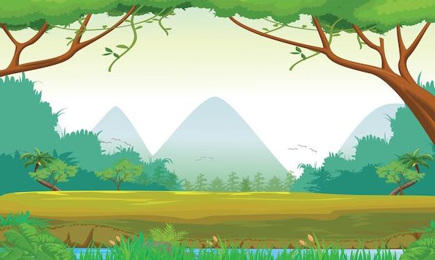 Ilustração da cena da floresta no tempo do dia