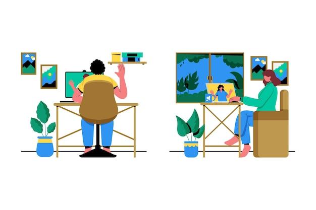 Ilustração da cena de videoconferência de amigos