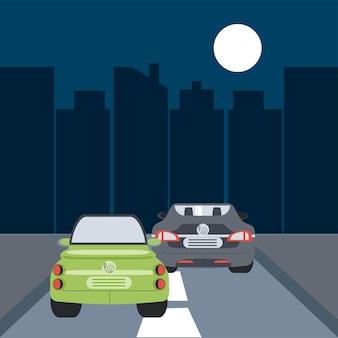 Ilustração da cena noturna da cidade no trânsito de carros elétricos