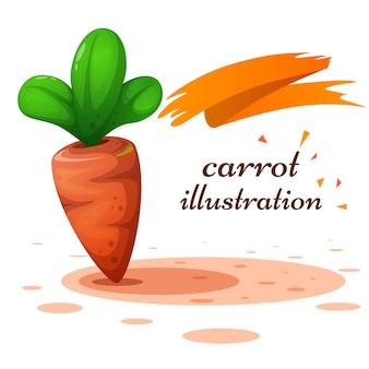 Ilustração da cenoura dos desenhos animados no fundo branco.
