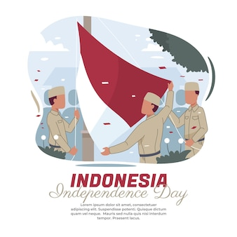Ilustração da cerimônia de hasteamento da bandeira nacional da indonésia