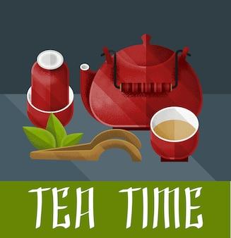 Ilustração da cerimônia do chá chinesa com par de chaleira vermelha e pialat em estilo vintage