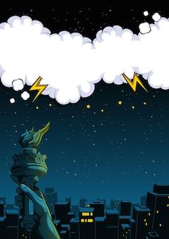 Ilustração da cidade à noite e a mão da estátua da liberdade, fundo de bolha do discurso em quadrinhos, ilustração de edifícios.