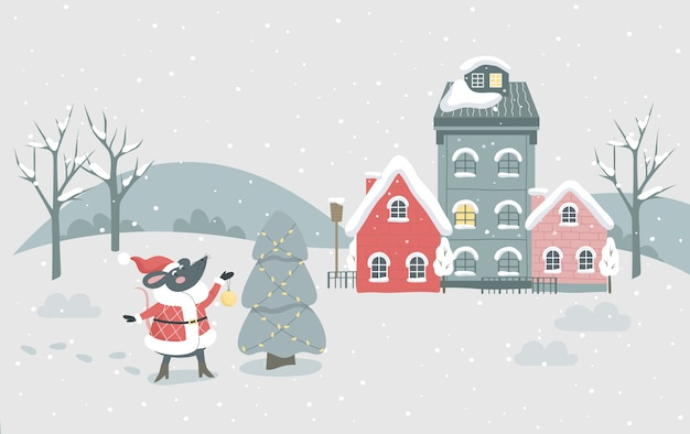 Ilustração da cidade de inverno do natal. personagem festiva e decoração do feriado. árvore de natal com decoração tradicional, luzes e rato festivo um símbolo de 2020. decoração de cartão de natal
