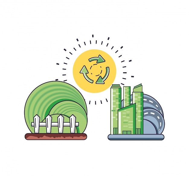 Ilustração da cidade e sustentabilidade
